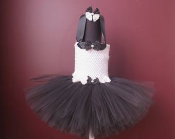 Baby Toddler Girls Black White Tuxedo Flower Girl Lined Tutu Dress with Matching Hair Clip~ Size: 3T-4T Ready to Go!