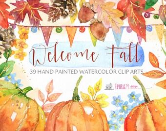 Fall Watercolor Clipart, Watercolor clipart, Fall clipart, Autumn clipart, Fall digital, Autumn digital, Pumpkin clipart, Acorn clipart.Gold