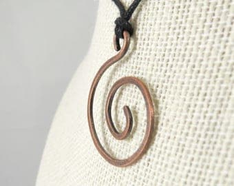 Copper Spiral Necklace Hammered Copper Minimalist Pendant Necklace Copper Anniversary Gift for Her