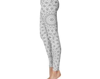 Gray Yoga Leggings - Gray Leggings, Gray and White Printed Leggings, Mandala Art Tights, Gray Stretch Pants