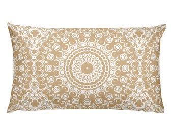 Cream Pillow, Decorative Throw Pillow, 20x12 Lumbar Pillow, Tan and White Mandala Design Rectangle Cushion