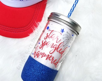Star Spangled Hammered Tumbler // 4th of July Cup // Independence Day Tumbler // July 4th Cup Glitter Dipped