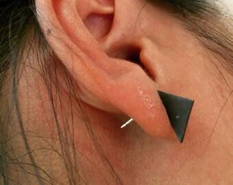 Blackened Silver Planar Triangle Earrings