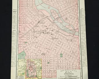 Vintage minneapolis map   Etsy