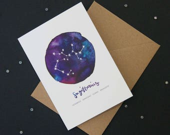 Sagittarius card | Star Sign Constellation Horoscope Zodiac Astrology. Birthday, new baby, greetings card