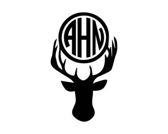 Deer head antler monogram download, unique animal svg, dxf, eps, ai, png, instant download, cute monogram, mono, hunting monogram, country