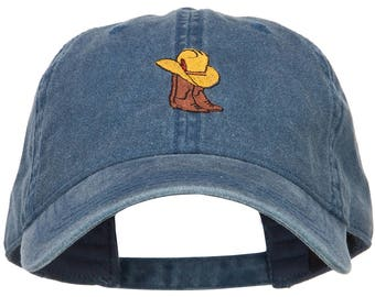 Cowboy Boots and Hat Embroidered Washed Cap