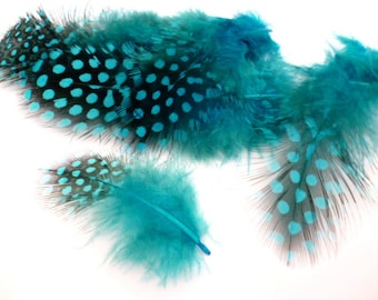 Dark Turquoise Feathers_PP034655887/324_ Pack little Turquoise dots dyed feathers of 4-12 cm/ pack 16-20 pcs