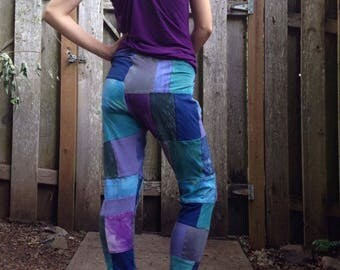 Your choice hemp and organic cotton patchwork leggings
