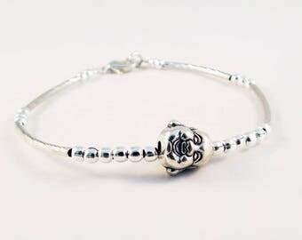 BZ00B - Holder gray metal Bracelet with Buddha head Zen Yoga and iron on setting silver beads