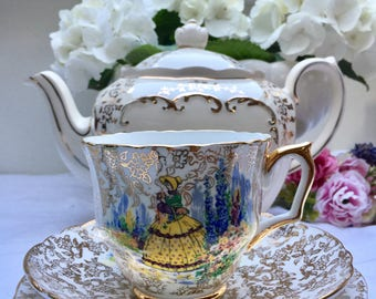 Darling Crinoline Lady Gold Chintz Vintage Teacup, Saucer and Plate