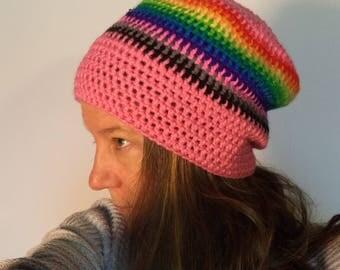 Pink rainbow granny crocheted Rasta beanie vintage slouchy LGBT gay pride women pussy power matriarchy winter hat