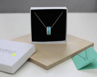 Turquoise minimalist ceramic bead necklace, ceramic pendant, sterling silver chain
