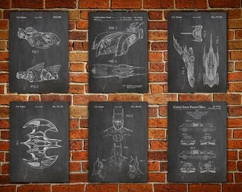 Batman  patent print, Patent canvas prints Batman Art Posters, Batman Posters, Batman decor ,Batwing Poster Set of 6