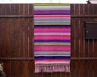 Vintage Swedish wool wall hanging Large Woven wool hanging Wall tapestry with fringes Patterned Folk wall hanging Hand woven colorful decor