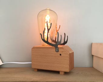 Wooden lamp in the shape of deer with Deco bulb and dimmer