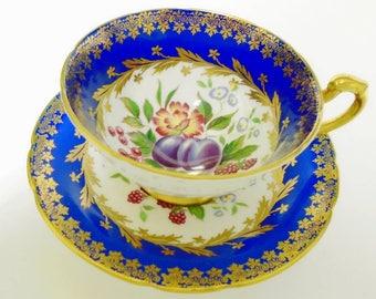 Paragon fruit art deco tea cup and saucer, fruit flowers tea cup, gold gilt royal blue tea cup, heavy gold handle