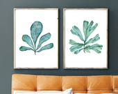 Sea Fan Watercolor Print Set of 2, Teal Blue Modern Minimalist Wall Decor For Home or Office, Seaweed Art Botanical Prints, 5x7 to 16x20