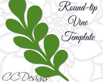 Round Tip Vine Leaf Template, Paper Vine Templates, Paper Leaf Template, SVG