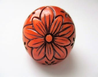 Flower Dome Ring Plastic Resin Size 8 Chunky Statement Ring Floral Boho Ring Orange Brown Burnt Sienna