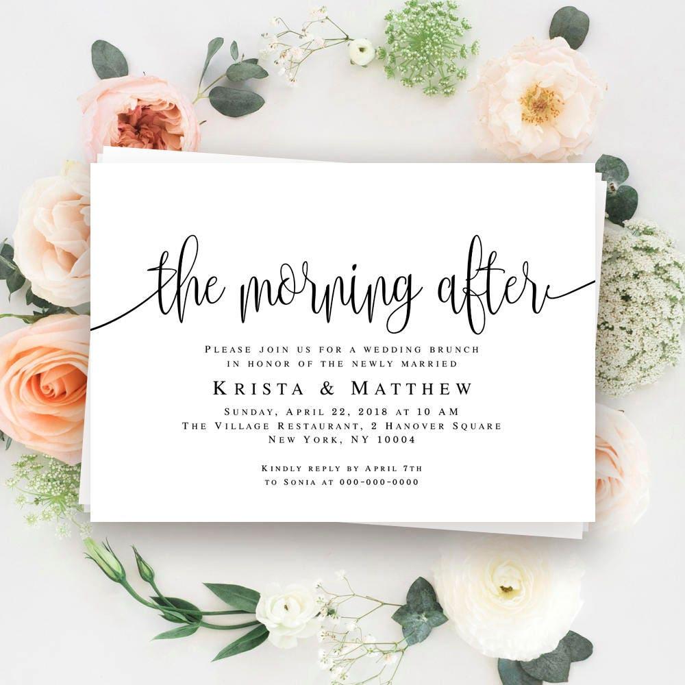Morning after wedding brunch invitations Post wedding brunch ...