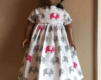 Pink elephants dress for American girl doll or other 18 inch doll