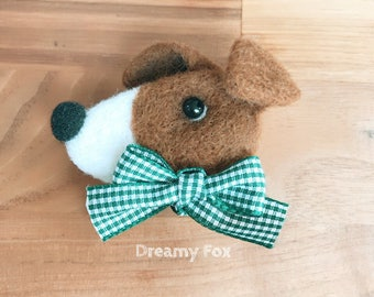Needle felted jack russell terrier brooch