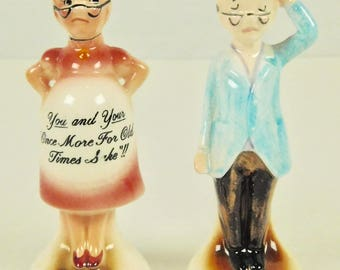 Whimsical Funny Pregnant Expecting Grandma and Befuddled Grandpa Couple Ceramic Enesco Japan 1950s Salt and Pepper Shakers