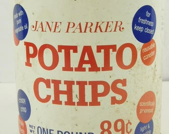 Vintage Jane Parker Potato Chip Metal Tin Can One Pound 89 Cents A&P New York Red White Blue Shabby Country Chic Farmhouse Decor Kitchen