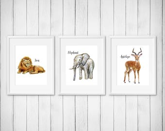 Set of 4 Prints | Antelope Elephant Hippo Lion | Nursery Art | Watercolor | Gallery Wall | Instant Download | Digital | JPEG | 11x14 | 102