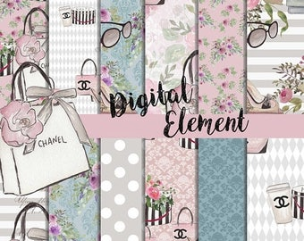 ON SALE Digital Paper, Seamles Digital Scrapbook, Fashion Design Paper, Pink Chanel Design Paper. No. P200