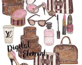 ON SALE Digital Clip Art, Watercolor Louis Vuitton Clip Art, Watercolor Fashion Designs. No. E39