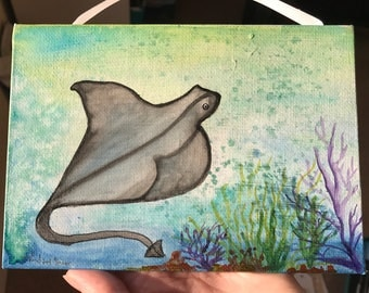 Stingray, sealife, ocean, prima watercolor, metallic accents, metallic, under the sea, beach, coral, watercolor, birthday, seas the day