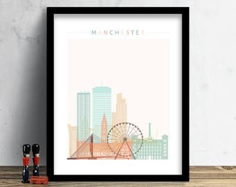 Manchester Skyline, Print, Watercolor Print, Wall Art, Watercolor Art, City Poster, Cityscape, Home Decor, Christmas Gift PRINT