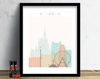 Orlando Skyline, Print, Watercolor Print, Wall Art, Watercolor Art, City Poster, Florida, Cityscape, Home Decor, Christmas Gift PRINT