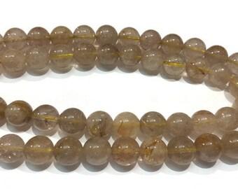 Golden Rutilated Quartz Round beads 12mm length in 16 Inch