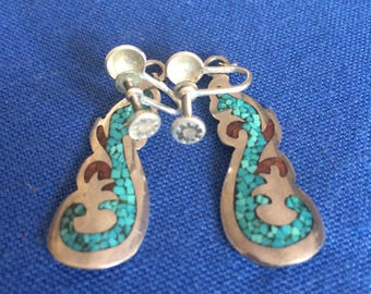 """HAND MADE Signed """"Franklin"""" Sterling Silver marked dangling pair of clip on screw back earrings w/inlaid turquoise"""