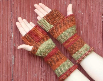 Striped fingerless gloves, texting gloves, hand made in usa, boho accessory autumn accessory, texting mitts fingerless mitts /made to order