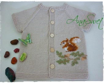 Hand knit baby vest with Squirrel.Baby cardigan .Size 12-18 months.
