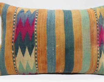 "16"" x 24"" Lumbar Kilim Pillow Vintage Turkish Kilim Rug Pillow Cover Cushion Cover Handmade Kilim Pillows Rectangular Pillows Geometric 724"