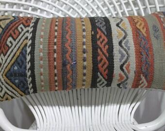 Handwoven Kilim Pillowcase Turkey Kilim Pillow,Kilim Cushion Cover-Undyed Wool Kilim Pillow 10x20 Lumbar Pillow - Striped Kilim Pillow  899