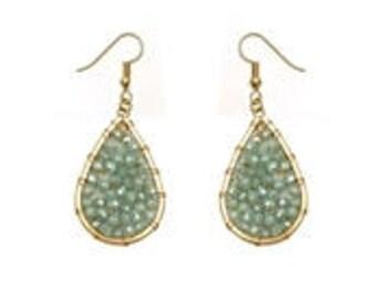 Mint Beaded Teardrop Earrings