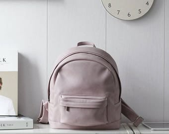 Small light pink eco leather leatherette handmade backpack gift / men woman/