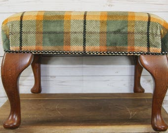 Large Antique Style Square Foot Stool + Queen Anne Legs & Tartan Upholstered Seat
