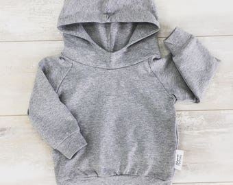 Hoodie for baby and child, PALE grey cotton/spandex