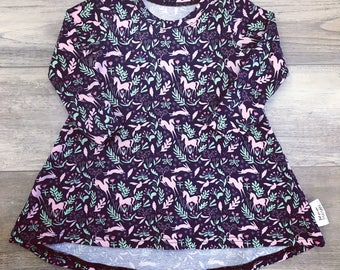Perfect little dress, unicorns and rabbits, Navy background, short or long sleeves