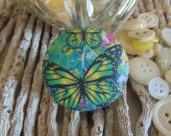 x 1 cabochon 19mm bouquet flowers 2 BOUT10 fabric