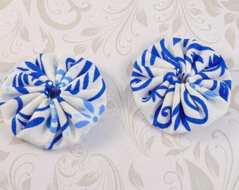 x 2 40mm fabric white and blue lot23 fabric yoyos