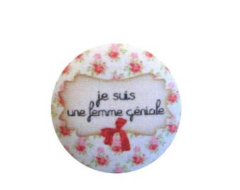 x 1 28mm fabric button I am awesome BOUT16