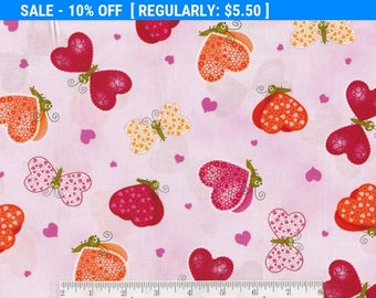 SALE! Love Bugs - Per Yd - Hearts on Pink
